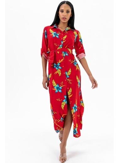 Emjey Boydan Düğmeli Uzun Elbise Kırmızı